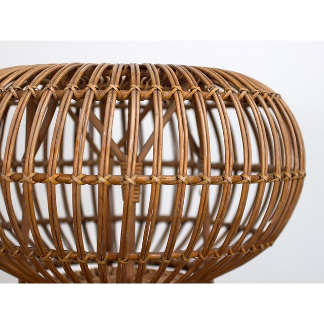 Vintage Woven Rattan Ottoman by Franco Albini For Sale In New York - Image 6 of 8