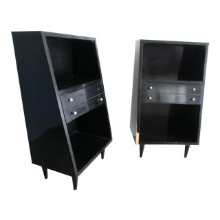 American of Martinsville Ebonized Nightstands