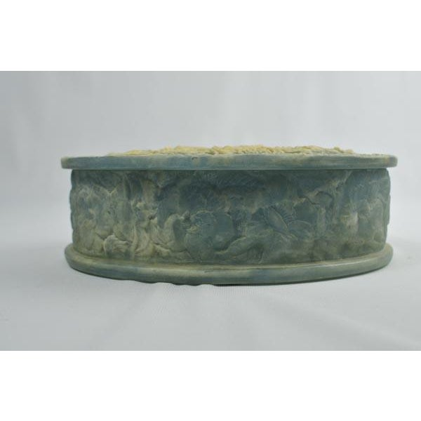 Traditional Birds of Paradise Incolay Stone Blue & White Cameo Oval Box For Sale - Image 3 of 7