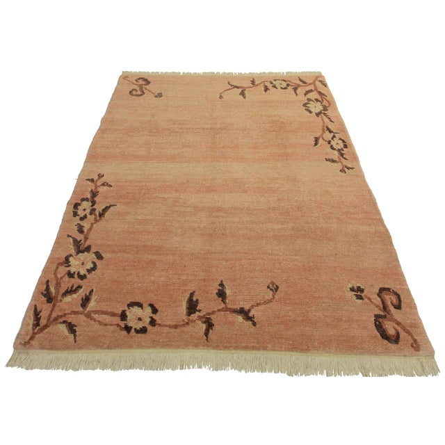 Offered is a hand knotted wool Chinese Tabetan rug. Beautiful color tone variations.