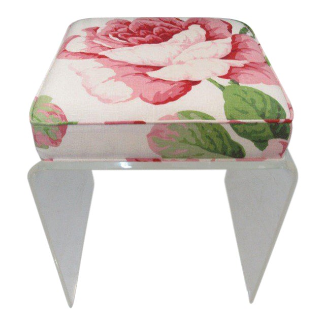 Upholstered Lucite Bench Stool - Image 1 of 5