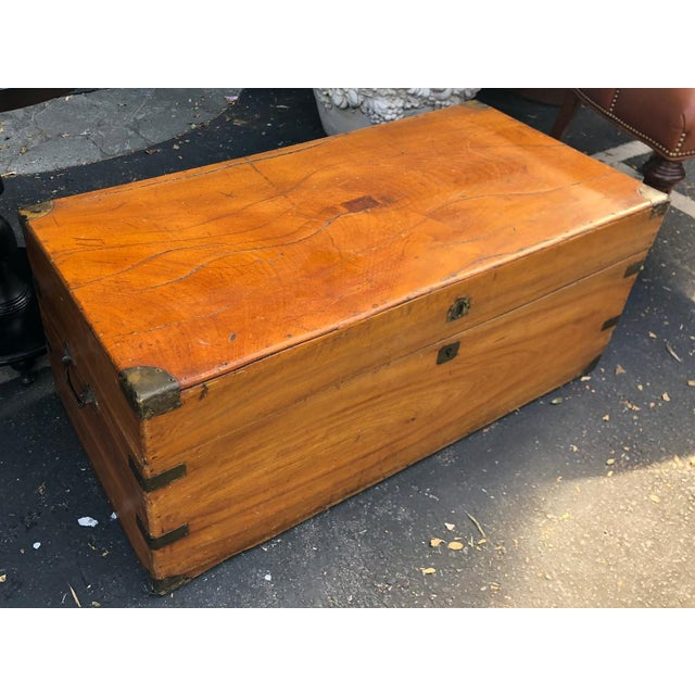 Asian Antique 19th C Chinese Camphor Chest Trunk or Side Table For Sale - Image 3 of 7