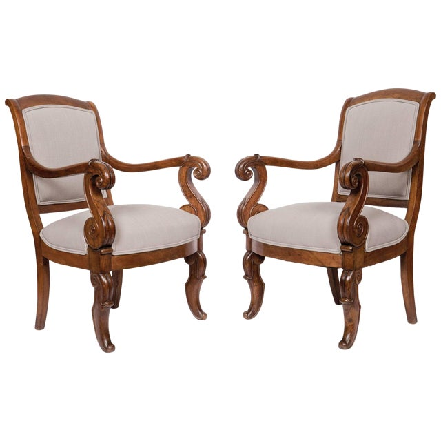 Solid Walnut Pair French Restauration Armchairs For Sale