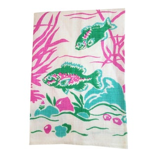 "Mid-Century ""Blue Bass"" Linen Towel For Sale"