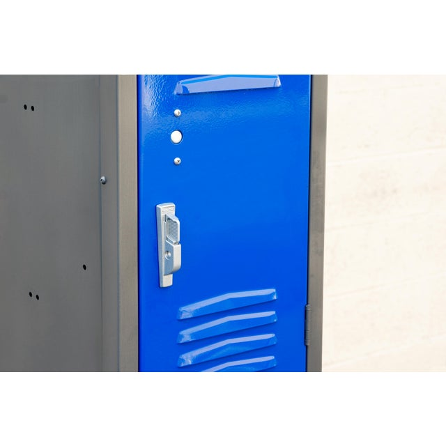 1970s Vertical Locker Cabinet,Refinished in Royal Blue For Sale - Image 4 of 7