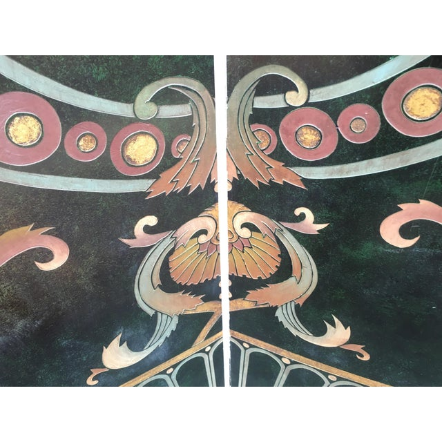 6 Foot Tall 1930s Hand Carved and Painted Art Deco Screen - Image 7 of 10