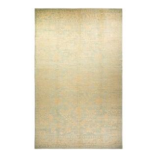 """Oushak, One-Of-A-Kind Hand-Knotted Area Rug - Light Gray, 10' 4"""" X 16' 3"""" For Sale"""