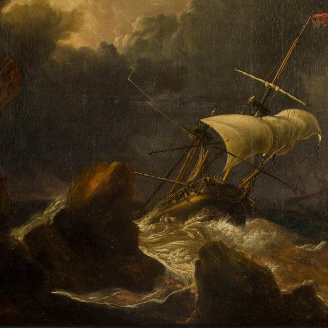 Eye of the Storm, ships in Storm - Oil on Canvas , Attributed - Framed dimensions: 54 in x 37 in; Image dimensions: 44.25...