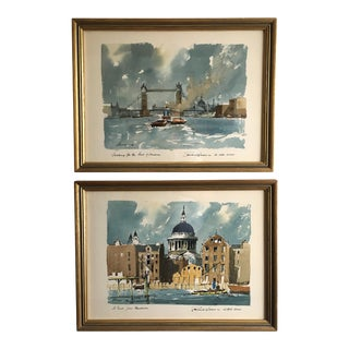1960s Vintage Framed Robert Wesson London Prints - A Pair For Sale