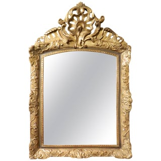 Italian Gilt Gesso Mirror Adorned With a Rocaille Crest, 18th Century For Sale