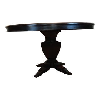 Transitional Round Ebony Dining Table For Sale