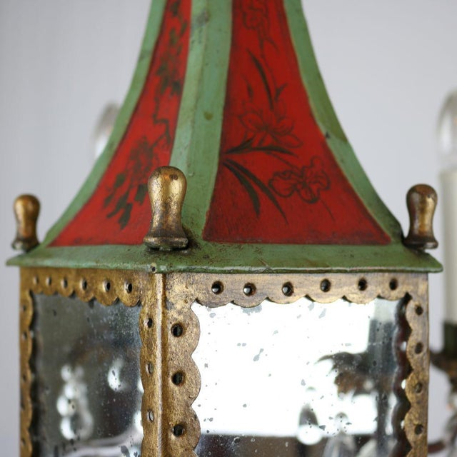Italian Mirrored Tole & Crystal Chandelier - Image 5 of 11