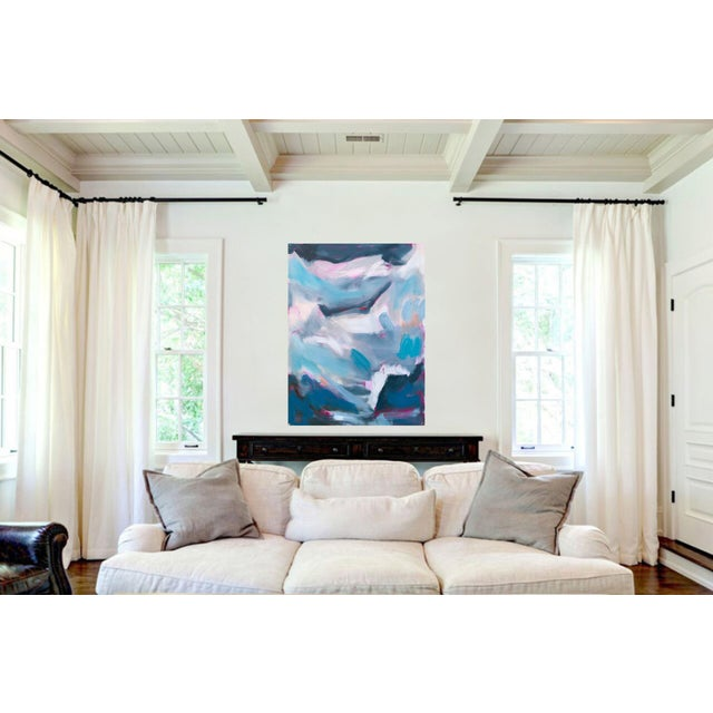 """Canvas """"High Seas 2"""" by Trixie Pitts Large Abstract Oil Painting For Sale - Image 7 of 9"""
