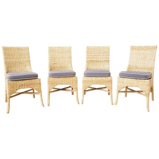 Set of Four McGuire Woven Rattan Wicker Dining Chairs For Sale