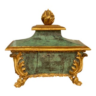 Italian Baroque Style Painted and Parcel Gilt Reliquary For Sale