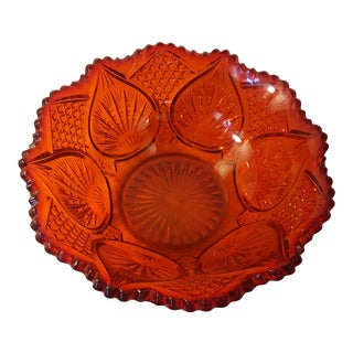 Tomato Red Cut Glass Bowl For Sale