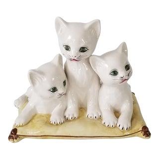 Beautiful Vintage Italian Majolica Three Kittens on Pillow Figurine. For Sale