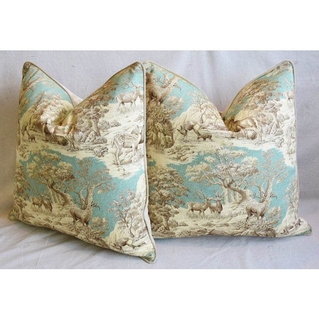 "Woodland Toile Deer & Velvet Feather/Down Pillows 25"" Square - Pair For Sale - Image 9 of 13"