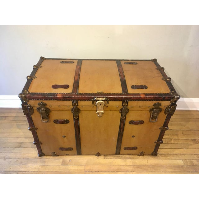 Early 1900s Canvas Travel Trunk For Sale - Image 13 of 13