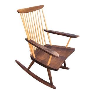 Modern Nakashima Studio Mixed Wood Lounge Rocking Chair For Sale
