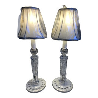 Crystal Candle Table Lamps - a Pair For Sale
