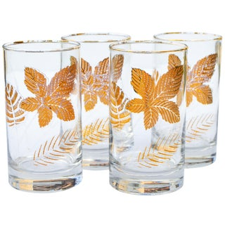 Midcentury Leaf-Patterned Glasses- S/4 For Sale