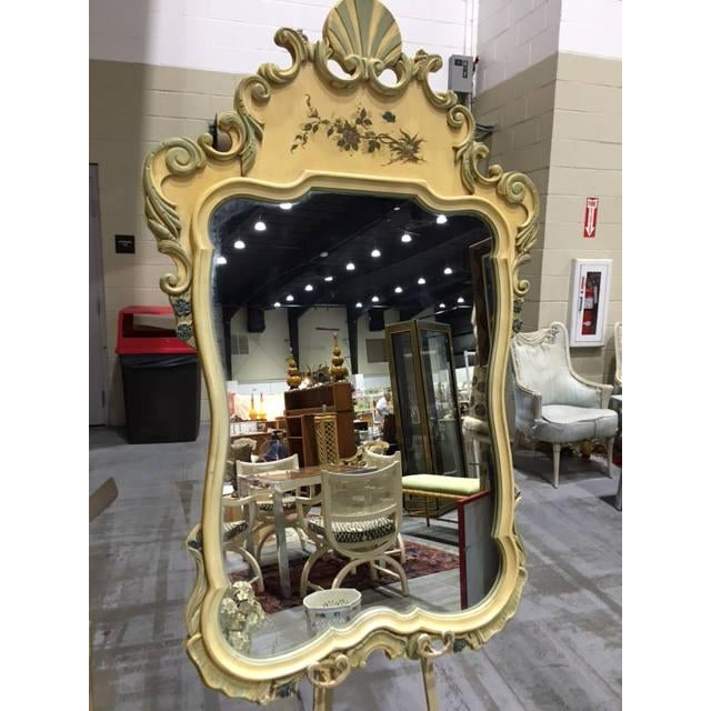 Mid 20th Century French Hand Painted Wood Shell Mirror For Sale - Image 5 of 5