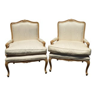 Pair Vintage French Provincial White Chairs Down Cushion ~ Meyer Gunther Martini