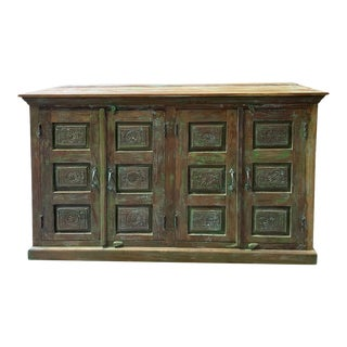 1920s Rustic Green Sideboard Carved Chakra Sideboard For Sale