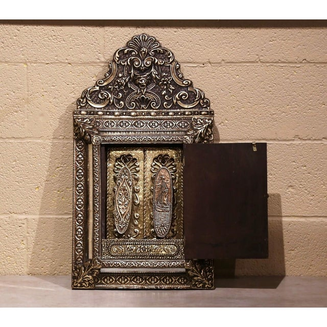 Brass 19th Century French Napoleon III Repousse Brass Wall Mirror With Inside Brushes For Sale - Image 8 of 8