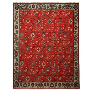 "Antique Geometric Red Wool Kilim Rug-10'x12'9"" For Sale"