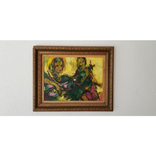 1960 Fran Archdeacon Oil Painting of Two Females With Guitar For Sale - Image 13 of 13