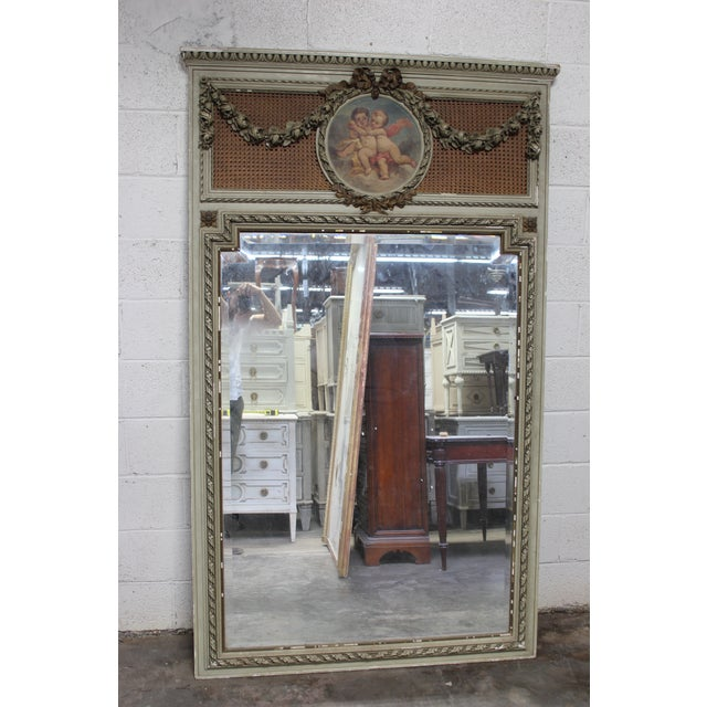 Early 18th Century Early 18th Century Antique French Painted Trumeau Mirror For Sale - Image 5 of 6