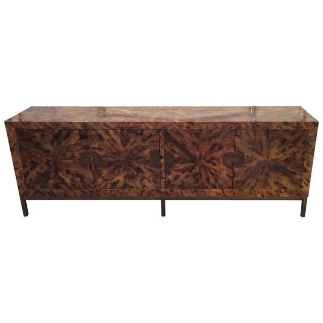 Mid-Century Modern Brass Tortoise Shell Sideboard For Sale - Image 11 of 12