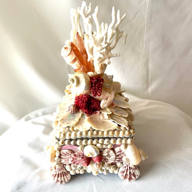 Exquisitely encrusted with fine Coral, Specimen Seashells, Pearls and Rock Crystal, this small box will make a lovely...
