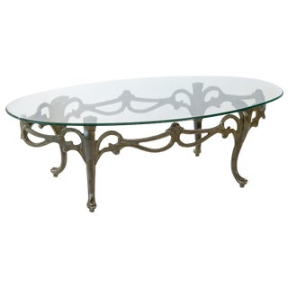 Cabriole Leg Glass Top Coffee Table For Sale