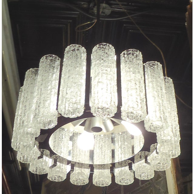 Silver Round Chandelier With Crackle Glass For Sale - Image 8 of 8
