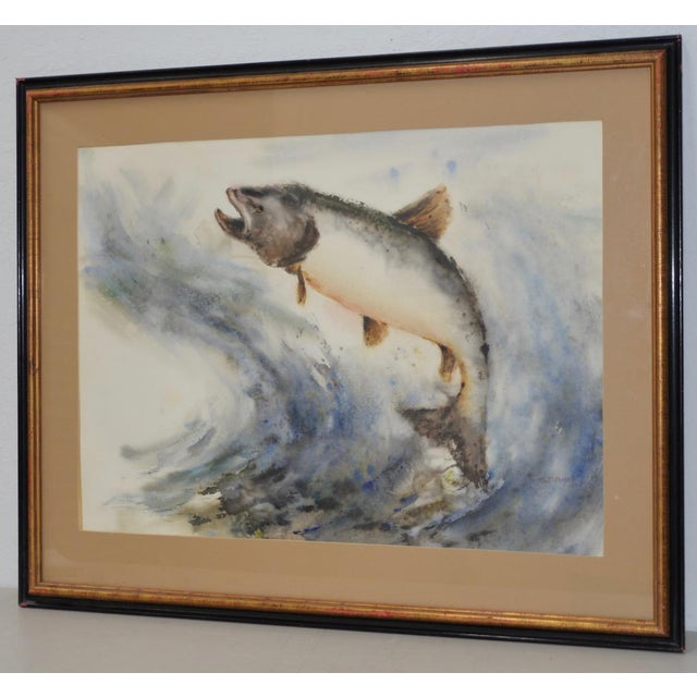"Mabel Palmer (1903-1998) ""Up River"" Original Watercolor c.1960s Fine watercolor of a Wild Salmon swimming ""Up River"" by..."