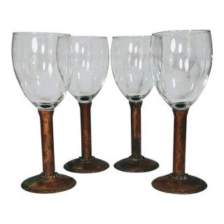 Vintage Copper Stem Crystal Wine Glasses Artist Signed Set - Set of 4
