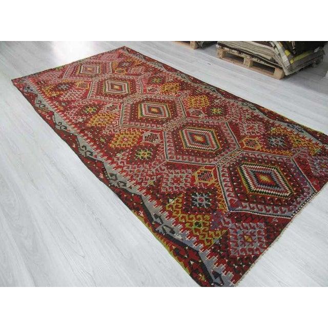 Vintage Turkish Kilim Rug - 5′10″ × 11′4″ For Sale - Image 5 of 6
