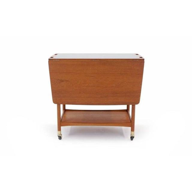 Danish Modern Danish Modern Drop Leaf Teak Serving Cart For Sale - Image 3 of 10