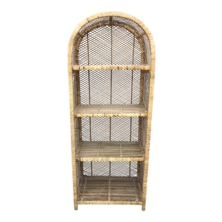 Vintage Rattan Shelf Bookcase Etagere For Sale