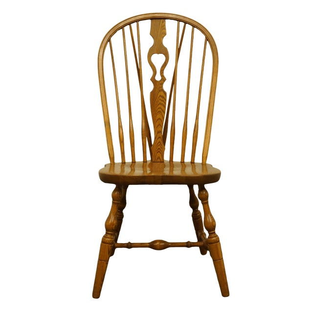 Late 20th Century Vintage S. Bent Bros. Grand Rapids Solid Oak Country Style Dining Side Chair For Sale