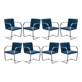 Brno Flat-Bar Chairs in Navy Ultrasuede by Ludwig Mies Van Der Rohe for Knoll - Set of 8 For Sale
