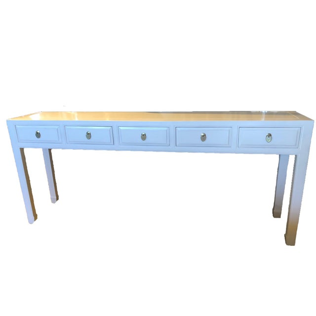 Asian Modern White Lacquer 5-Drawer Console Table For Sale - Image 9 of 9
