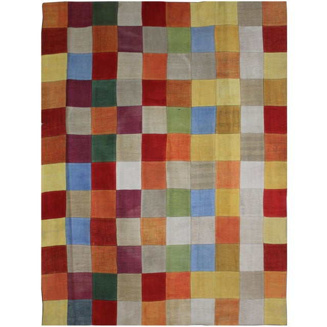 "1950s Antique Hand Knotted Patchwork Kilim - 6'6"" x 8'10"" For Sale - Image 5 of 5"