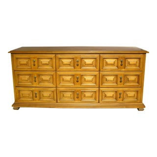 Vintage Mid Century Modern 9 Drawer Triple Dresser by Drexel ~ Esperanto 1964 For Sale