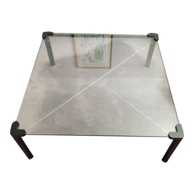 Modern Square Coffee Table With Glass Top: Contemporary Square Top Frosted Glass Coffee Table