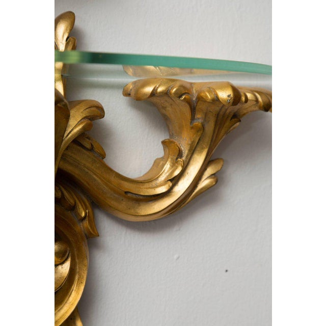 Pair of Gilt Rococo Style Brackets with Glass Shelves For Sale - Image 4 of 8