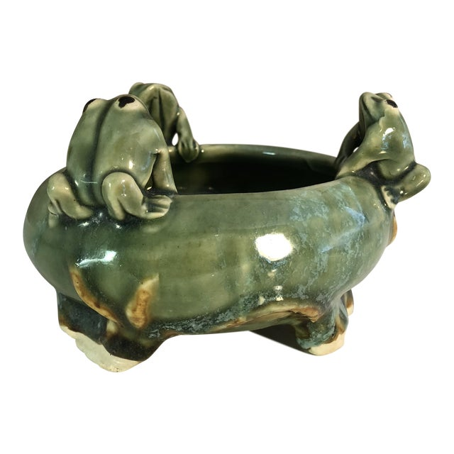 Fitz and Floyd Majolica 3 Frogs Bowl Planter For Sale